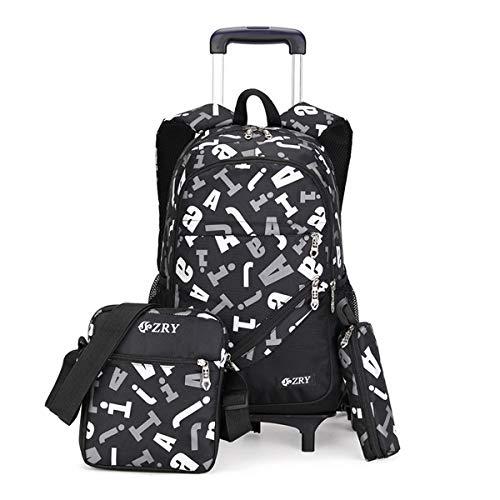 VBG VBIGER Kids Rolling Backpack Wheeled Backpack for Boys Rolling Luggage Backpack for School & Travel (Black-White)