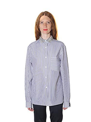 Sonia Rykiel Damen Bluse Weiß 101 - Bianco/Blu 30