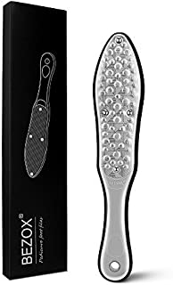 BEZOX Professional Foot File Callus Remover, Double Sided Pedicure Rasp for Cracked Heel and Dead Foot Skin - Heavy Duty Surgical Grade Stainless Steel - W/Cloth Storage Bag & Gift Box