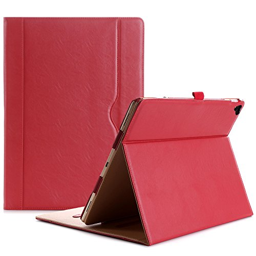 ProCase Apple iPad Pro 12.9 2017/2015(Old Models) Case -Premium Leather Stand Folio Case Cover,with Apple Pencil Holder Auto Sleep/Wake, for iPad Pro 12.9 Inch -Red