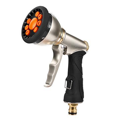 Denavo - Pistola pulverizadora de Metal para Manguera de jardín, 9 Patrones Ajustables, Boquilla de pulverización de Alta presión Resistente, Lavado de Coche,...