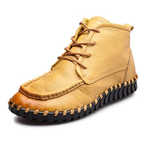 Vogstyle Damen Vintage Schön Weich Leder Low-top Schnürschuhe Schuhe Art 3 40 Gelb