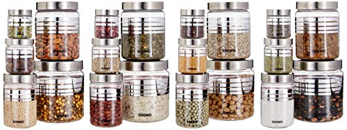 Amazon Brand - Solimo Plastic Container Set, 20-Pieces, Silver