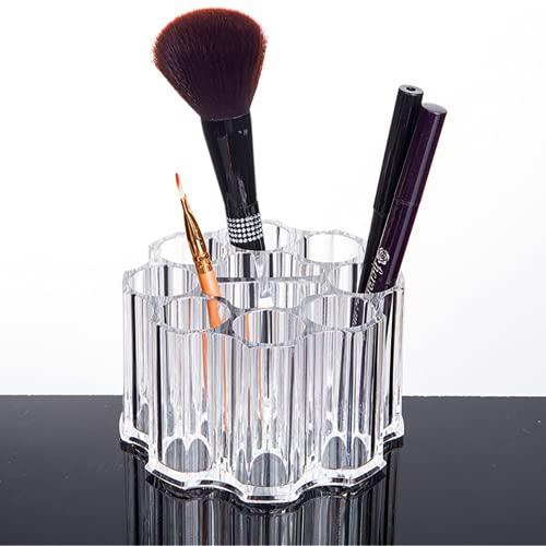 iPegtop, porta pennelli da trucco in acrilico con 12 scomparti per eyeliner, sopracciglia, matite, cosmetici, contenitore rotondo