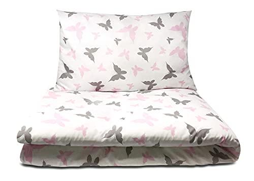 Balbina Juego de cama infantil y de bebé, diseño de mariposas, 100 x 135 cm, funda nórdica de 40 x 60 cm, funda de almohada de 2 piezas, 100% algodón, con cremallera (mariposas/rosa)