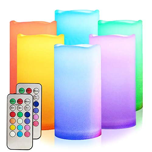 LED Multi Colored Flameless Candles,Salipt LED Flickering Candles Set of 6 (H 6' xD 3') Battery Operated Candles,Waterproof Flameless Candles, Resin Plastic, Indoor Outdoor Use for Gifts