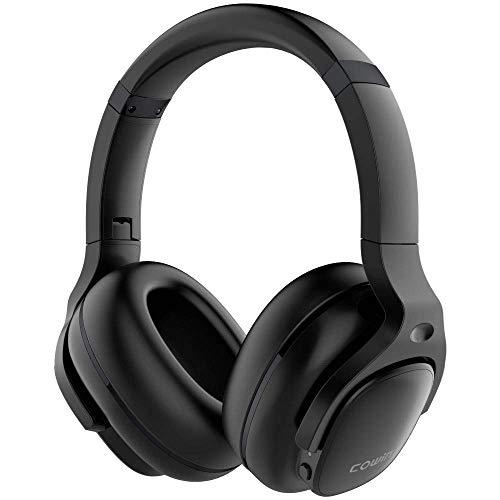 Cowin E9 Auriculares Bluetoothcon inalámbricos con cancelación Activa de Ruido sobre la Oreja con micrófono/Aptx, cómodas Almohadillas proteicas, 30 Horas de Juego para Viajes/Trabajo, Negro