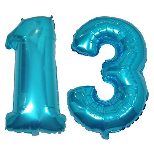 DIWULI, números de Globos XL, número 13, Bolas de Hielo Azul, número de Globos, Globos de Aluminio ID Nº años, los Globos Azules de película para el 13 Aniversario, Boda, Fiesta decoración