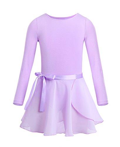 TiaoBug Ballettkleid Mädchen Langarm Ballett Trikot Baumwolle Ballettanzug Kinder Ballettkleidung Set Gr. 98-164 Lavender 110-116
