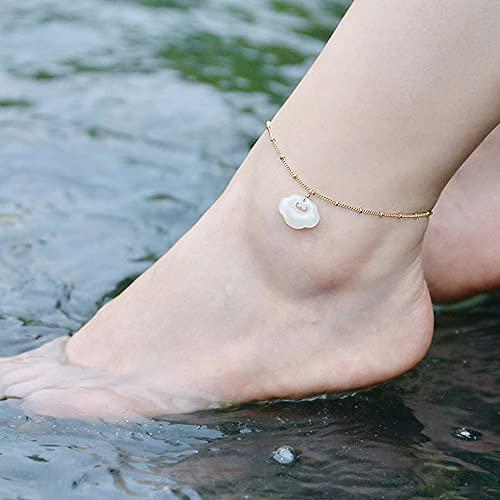 14k Gold Filled Anklet Ankle Bracelet Ruyi Jade Foot Chain with White Jade Foot Jewelry Vintage Bracelet Elegant for Women Gifts