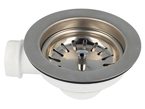 """tecuro Spülenablauf Spülen-Siebkorbventil 3 1/2"""" - Ø 114 mm mit Geräteanschluß"""