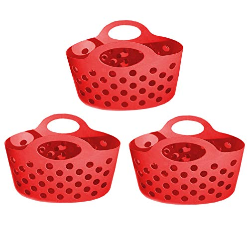 Red 3 Pack Plastic Organizer Baskets with Handles Small Soft Carry Totes Stackable