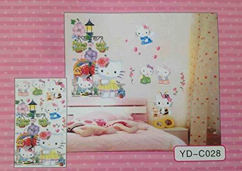 GMMH 3 D Wanddekoration Hello Kitty 2 Wandtattoo Wandaufkleber Wandsticker Disney