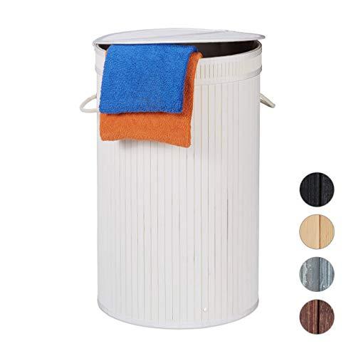 Relaxdays, weiß Wäschekorb, Wäschesammler mit Klappdeckel, 65 l, Faltbare Wäschetonne, groß, rund Ø 40 cm, Polyester
