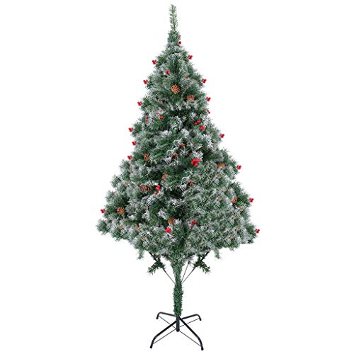 7foot-Artificial Christmas Tree 700 Branch Tips Flocked Snow Trees Decoration(with Pine Cones, red Fruits and Snow)