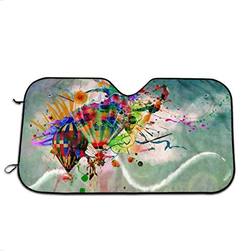 Comfort&products Hot Air Balloon Colourful Car Windshield Sun Shades Universal Fit 70 X 30 cm,Car Truck SUV Vehicle Sunshade Front Windshield Fashion