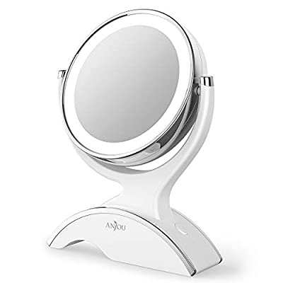 Makeup Mirror LED Lighted with 1X/7X Magnification, Anjou Vanity Mirror Battery-Powered, Removable, Double Side, 360° Rotation for Countertop Cosmetic Makeup, White