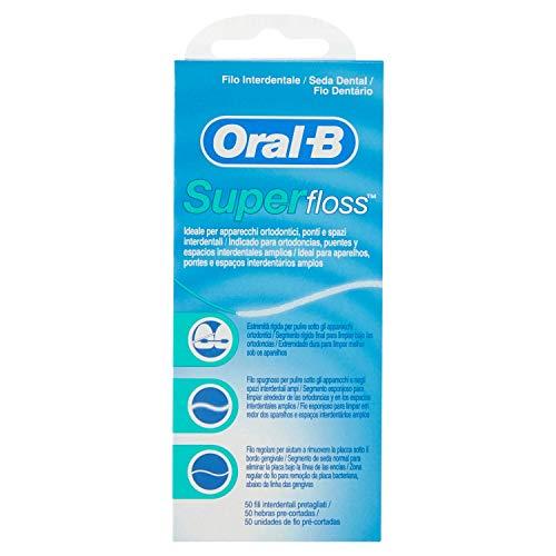 Filo Interdentale Oral-B Superfloss, 50 Fili Pre-Tagliati, Ideale Per Apparecchi Ortodontici, Ponti E Spazi Interdentali Ampi