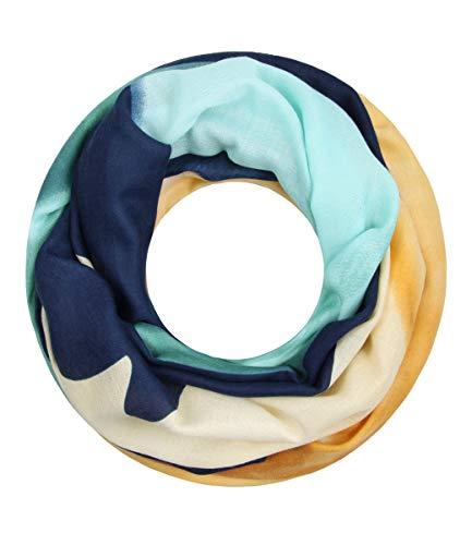 Majea super weicher Damen Loop Schal viele Farben Muster Schlauchschal Halstuch in aktuellen Trendfarben (senfgelb 30)