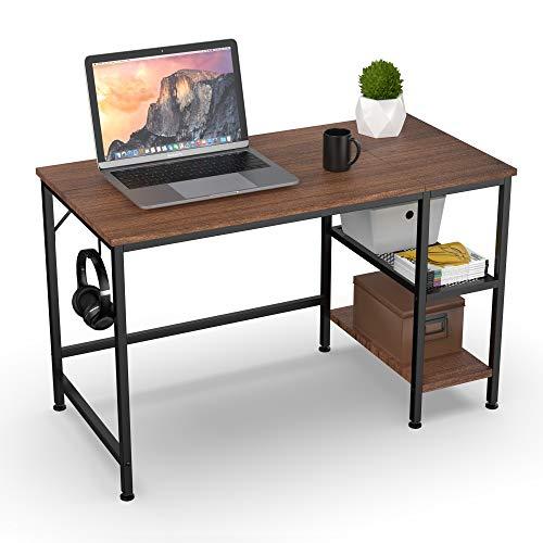 HOMIDEC Schreibtisch, Computertisch PC Tisch mit 3 Tier Bücherregal, Bürotisch Schreibtisch Holz Officetisch fürs Büro, Wohnzimmer, Home, Office, 120x60x75cm