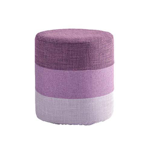 stool Sofá hogar de algodón y lino a rayas simple creativa sala de estar pequeño banco de zapatos perezosos sillas (color: morado, tamaño: A)