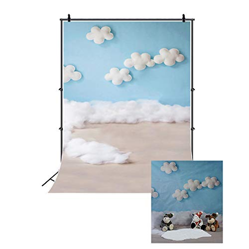 Leowefowa 2x3m Cumpleaños Telon de Fondo Decoración de la habitación del bebé Nubes Blancas Cielo Azul Trabajo Artesanal Fondos para Fotografia Party bebé Infantil Photo Studio Props Photo Booth