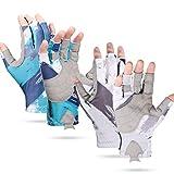 2 Pairs Fishing UV Protection Gloves Sun Fishing Gloves Padded Palm Fishing Fingerless Gloves for Men Women Kayaking Hiking Paddling Driving Canoeing Rowing
