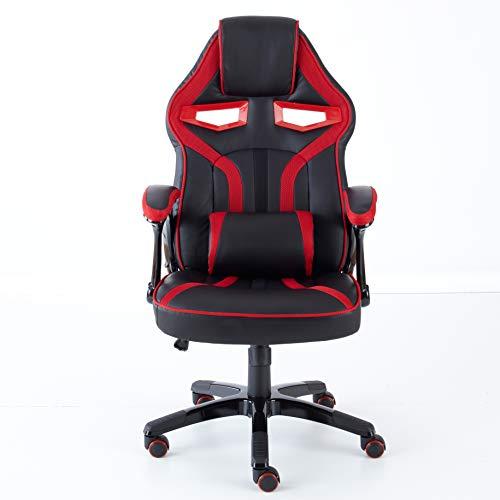 Neo, Executive, sedia da ufficio con supporto lombare e schienale sportivo in stile auto da corsa, per Gaming, in pelle PU Red & Black