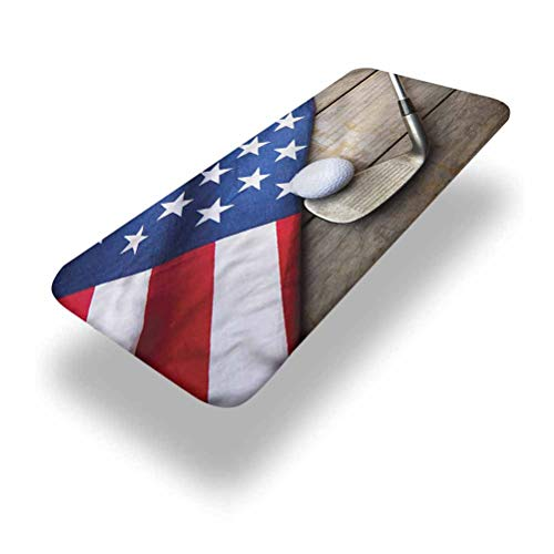 LCGGDB Sports Polyester Picnic Table Fitted Tablecloth Cover,Golf Ball with Flag of USA Elastic Edged Picnic Table Covers,24in x 48in (4ft),for Travel Christmas Picnics Parties Outdoor