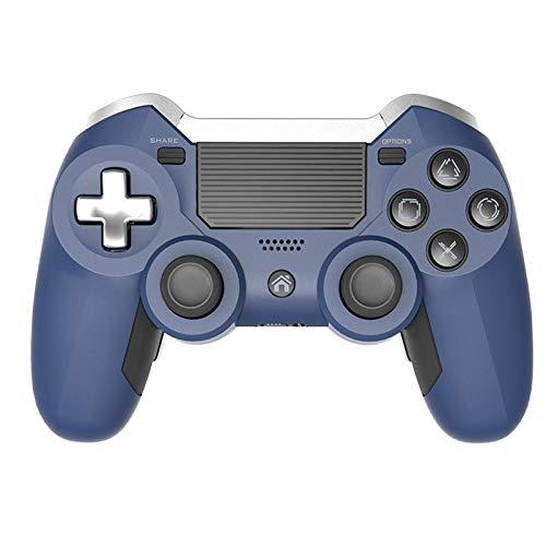 Controlador de juegos Gamepad inalámbrico Compatible con motores de movimiento y función de audio, mini indicador LED, cable USB y antideslizante con PS4 / PRO / SLIM / PC y computadora portátil,Azul