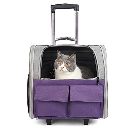 ZWW Mochila Transportador De Mascotas con Ruedas, Maletín Plegable con Ruedas para Gatos Y Asa Telescópica | Bolso De Mano De Viaje Ventilado para Perros Pequeños,Púrpura