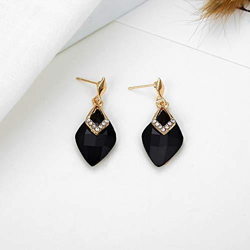 XAFXAL Pendientes,Aretes,Fashion Diamond-Shaped Resina Negra Lisa Sección Fórmula Geométrica para Regalo Boda Fiesta Nocturna