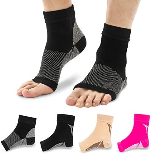 Buttons Pleats Plantar Fasciitis Socks Compression Foot Sleeves for Arch Support Toeless Front product image