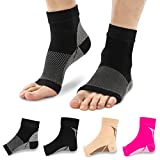 Plantar Fasciitis Socks Compression Foot Sleeves for Arch Support Toeless Front & Ankle Support 1158 Black M