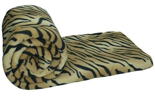 Betz Maxi Fleecedecke Kuscheldecke Größe 140x190 cm Qualität 220 g/m², Farbe Braun gestreift-Tiger Print