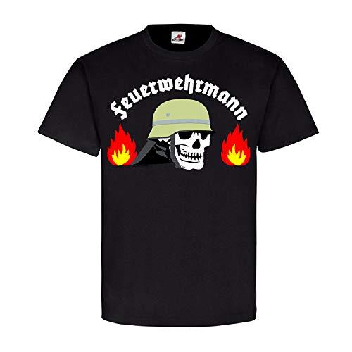Feuerwehrmann Freiwillige Feuerwehr Helm Skull Feuer Flammen Held Helfer T Shirt #21385, Größe:XXL, Farbe:Schwarz