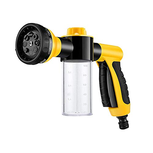LoboJack Foam Sprayer Gun, Pressure Nozzle for Car Wash, Watering Plants, Pet Shower, Outdoor Fun - 8 Watering Patterns and Soap Dispenser