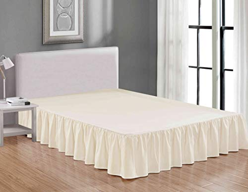 Sheets & Beyond Wrap Around Solid Luxury Hotel Quality Fabric Bedroom Dust Ruffle Wrinkle and Fade Resistant Gathered Bed Skirt 14 Inch Drop (Full, Beige)