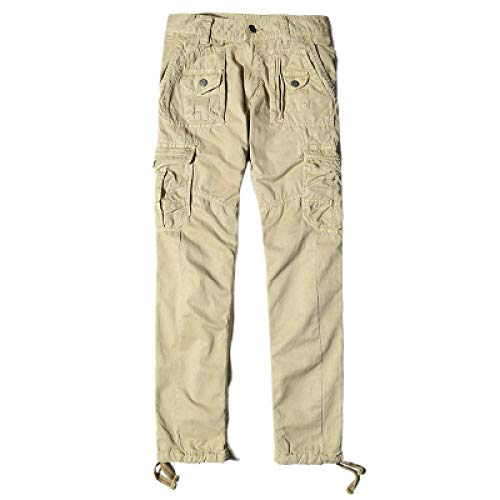 Pantalones para Hombre Pantalones Cargo Sueltos con múltiples Bolsillos Pantalones Casuales de Color Liso de Gran tamaño Ajustables con Abertura en el Tobillo 31