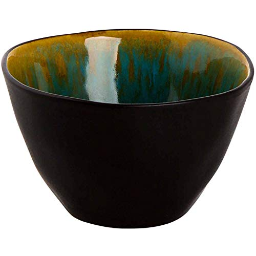 palmer 6 x Schale Snackschale, Keramik, türkis schwarz, Ø 8 cm