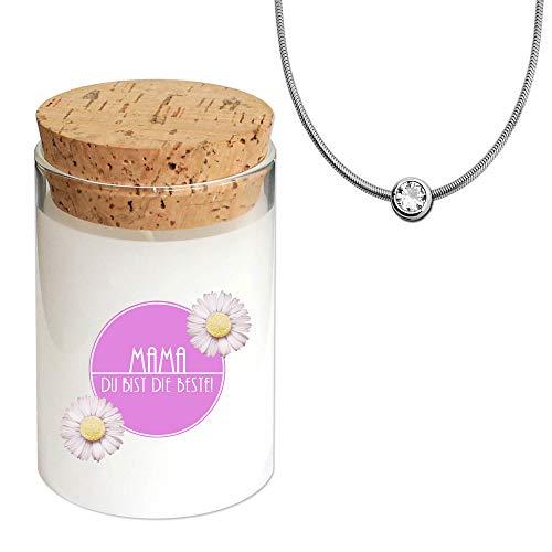tumundo Fashion Candle Schmuck-Kerze Muttertag Mama Geschenkidee Kerze im Glas mit Schmuck Duftkerze, Schmuckstück:Halskette + Anhänger
