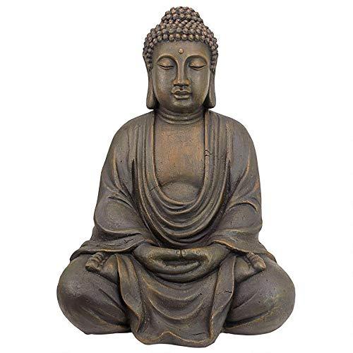Design Toscano Meditierender Buddha des großen Tempels Gartenstatue, Polyresin, steingrau, Mittel 66 cm
