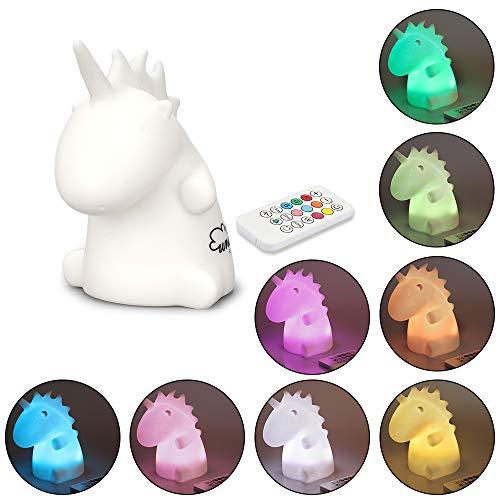 KUNGYO Unicornio Luz de Noche - Luz de Noche de Silicona LED para Niños BebéAmamantamiento Control Remoto Lámpara USB Recargable Cambiando 9 Colores Respirando la Luz del Sueño