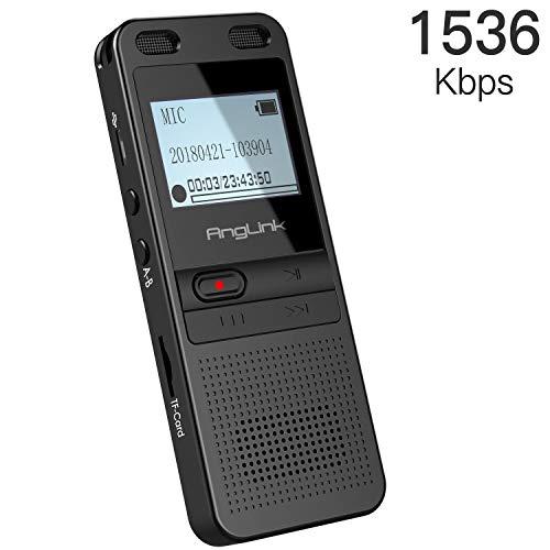 Diktiergerät mit Spracherkennung,Anglink Digitales Diktiergerät,1536Kbps 8GB Aufnahmegerät Geräuschreduzierung mit TF-Karte Expansion Spracherkennung Automatisch Aktivierter MP3 Player
