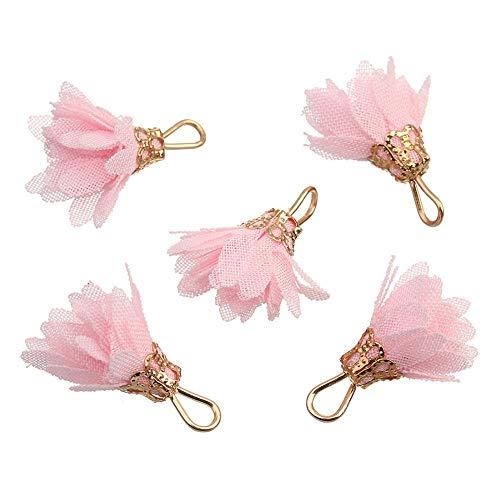 Kentop 20 Stück Bunt Kleine Blumen Anhänger Troddel 2cm Mini Kleine Blumen für DIY Schmuck Ohrring Basteln, Armbänder, Schlüsselanhänger