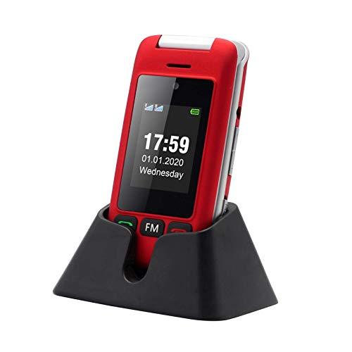 artfone Flip Teléfono Móvil para Personas Mayores con Teclas Grandes con Pantalla de 2.4 Pulgadas | Fácil de Usar para Ancianos | MMS | SOS Botón | Cámara - Rojo