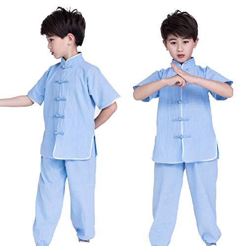 XLYAN Bequem Atmungsaktiv Tai Chi Anzug Kurzärmlige Jungen Und Mädchen, Kinder, Schulkinder Kampfsport Kleidung Kung FU Kleidung,Blue-120