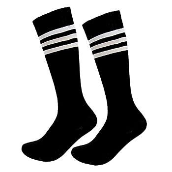 Kids Soccer Socks Boys Girls Cotton Team Socks Teens Children Soccer Socks  Shoe size 1-5 and Ages 8-11 Black
