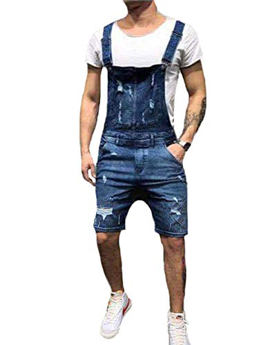 Canrulo Men's Denim Bib Overall Shorts Slim Fit Ripped Destroyed Jeans Jumpersuit Romper (S, Blue)