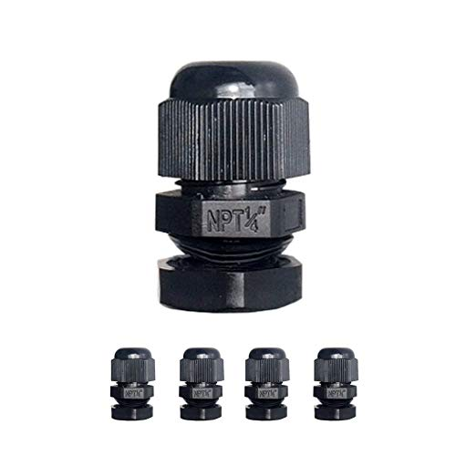 """MGI SpeedWare Strain Relief NPT Nylon Cord Grip Cable Glands - 5 Pack (1/4"""", Black)"""